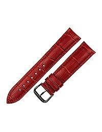 RECHERE Alligator Crocodile Grain Leather Watch Band Strap Black Pin Buckle (Red 22mm)