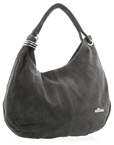 porté Vert en main Sombre italien suède à cabas Large sac 'Fiona' lime LIATALIA slouch femme épaule Gris hobo style pour nWSFxv