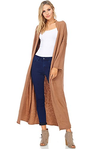 Alexander + David A+D Womens Casual Knit 3/4 Slv Duster Cardigan Sweater (Mocha, Small) Lace Edge Tunic Sweater