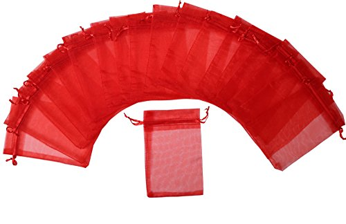 ZUUC Colorful Organza Drawstring Pouch Bag, 4''W x6' L, Pack of 100 (Red)