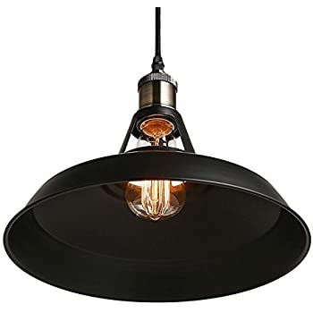 B2ocled Retro Industrial Black Pendant Lighting,Small Barn Farmhouse Pendant Light for Kitchen Island, Metal Aluminum Shade Ceiling Hanging Lights, 10.63 In diameter,1-Light