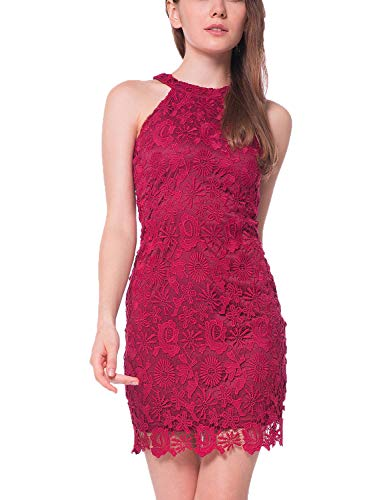 (Lamilus Women's Casual Sleeveless Halter Neck Party Lace Mini Dress (S, Wine red))