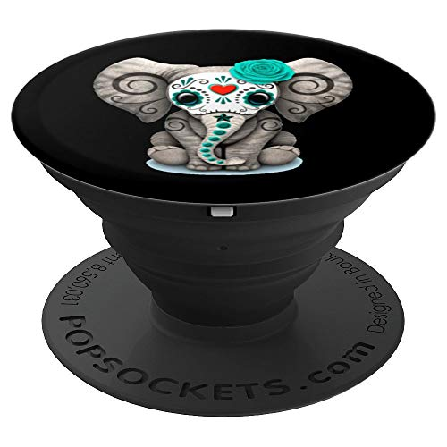 Sugar Skull Elephant Day Of The Dead Halloween - PopSockets Grip and Stand for Phones and Tablets ()