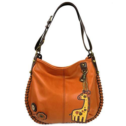 Giraffe Hobo (Charming X-large Hobo/Xbody Convertible Handbags with Giraffe Keyfob (Orange))