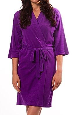 Granada Sales Corp. Women's Elbow Sleeve Length Lightweight Terry Robe, Purple