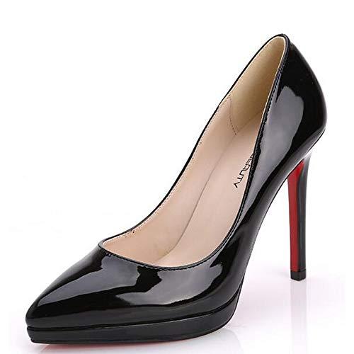 Pink Heels ZHZNVX de Comfort Black Confort Mujer Black Charol Stiletto Zapatos Heel Spring F6q0RFPO