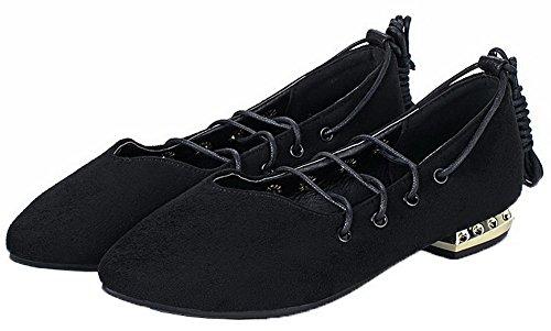 Amoonyfashion Damesschoenen Met Dichte Neus En Veters Pu Stevige Lage Hakken Pumps-schoenen Zwart
