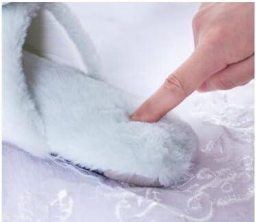 Womens Mens Cartoon Rabbit Indoor Slippers Winter Warm Fuzzy Plush Fur Anti-Slip Memory Foam House Bedroom Slippers