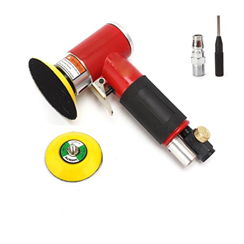 Go2Home 2″ 3″ Mini Orbital Air Sander Polisher Eccentric Dual Action with Adjustable Airflow Valve for Auto Body Work, Cabinets, Furniture