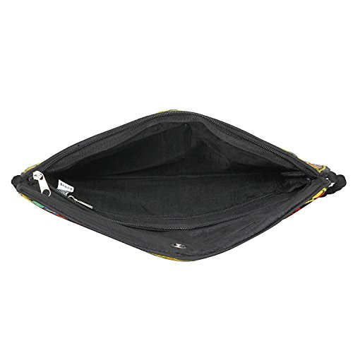 amp; Purse Bag Handmade Clutch Mulicolored Bag Banjara foldover Black Evergreen Embroidered Body Sling Cross X7SFqXHn