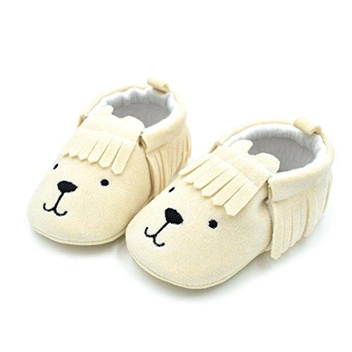 Jamicy® Babyschuhe, Neugeborene Jungen Mädchen Cute Animal Print Quaste Anti-Rutsch-Schuhe Beige