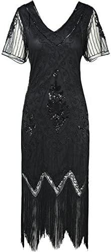 ArtiDeco - Vestido de mujer estilo años 20 con mangas cortas ...