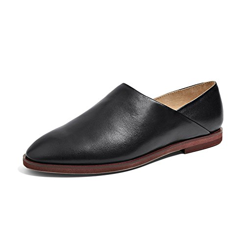 Honeystore Womens Commuting Office Slip-On Shoes Leather Loafer Flats Black