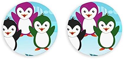 Cinco lindos pingüinos abridor de botellas redondas / imanes de nevera sacacorchos de acero inoxidable pegatina magnética 2 piezas