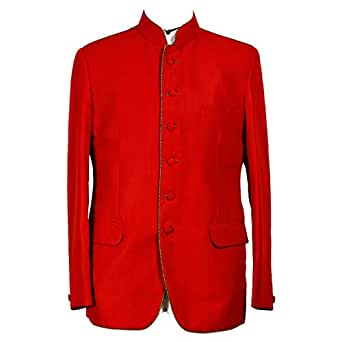 Libas Riyaz Gangji Red Viscose Blazer For Men