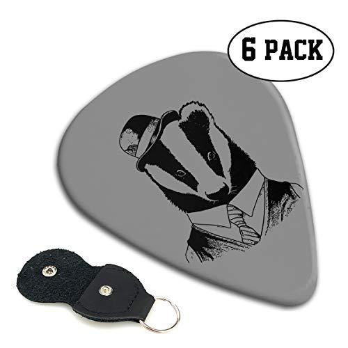 (MKJIH Honey Badger Don't Care-6 Pack Picks Sampler Classic 351 Shape Guitar Picks for Guitar Bass)