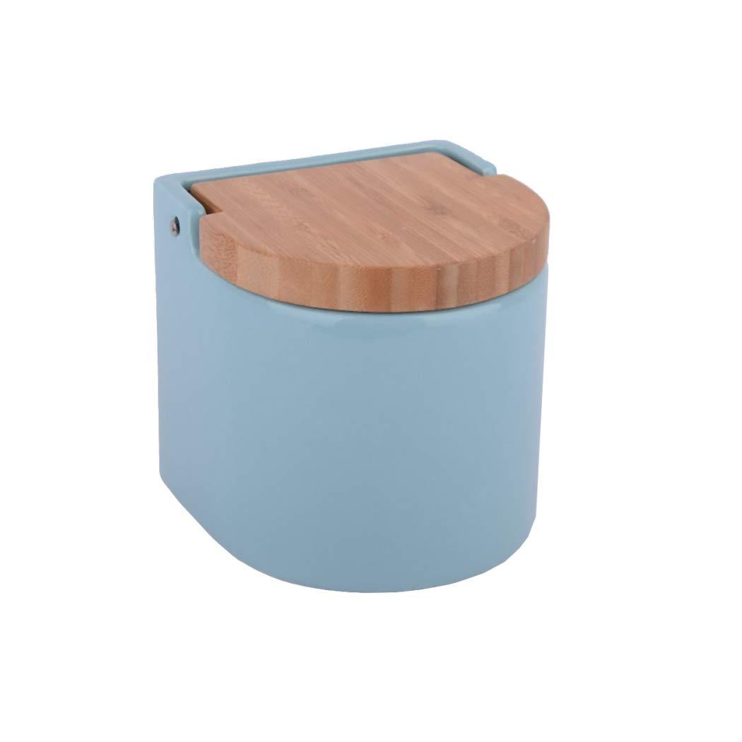 KOOK TIME Salero de Cocina de Cer/ámica con Tapa de Madera de Bamb/ú Basculante 11.7 x 11.5 x 11.3 cm Color Verde N/órdico