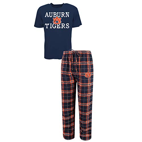(Concepts Sport Men's NCAA Duo Flannel Pajamas and T-Shirt Sleep Set-Auburn Tigers-Large)