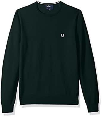Fred Perry Men's Classic Crew-Neck Sweater, Brit Racing GRN, X-Small