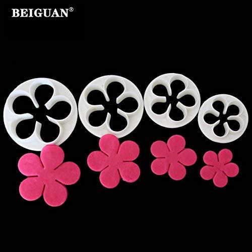 (1 piece 4Pcs/Set Rose Flower Petal Shape Cake Sugarcraft Fondant Cookies Plungers Cutters Decorating Tools)