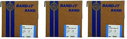 BAND-IT C30699 Galvanized Carbon Steel Band, 3/4'' Width X 0.030'' Thick, 100 Feet Roll (3-(Pack))