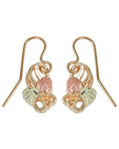 Fancy Scroll Grape Leaf Earrings, 10k Yellow Gold, 12k Rose and Green Gold Black Hills Gold Motif by Black Hills Gold Jewelry