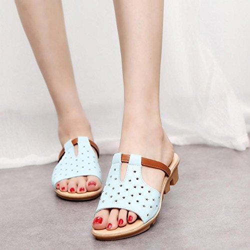 mujeres Azul de la de de las los Zapatillas diapositivas deslizadores de Internet verano Zapatos de playa las pnaxW14