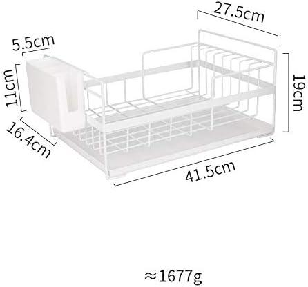 棚、食器水切り、ストレージボックス、水フィルターバスケット (Color : White, Size : 19cm)