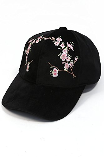 ScarvesMe Flower Embroidered Velvet Adjustable Baseball Cap (Black)