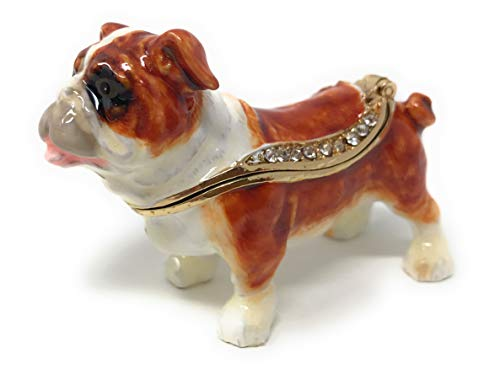 Kubla Crafts Enameled English Bulldog Trinket Box, Accented with Austrian Crystals, 2.25 Inches - Accessories Bulldogs Jewelry