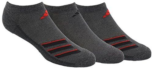 - adidas Men's Climacool Superlite Stripe No Show Socks (3 Pack), Grey Heather/Black/Scarlet, Size 6-12