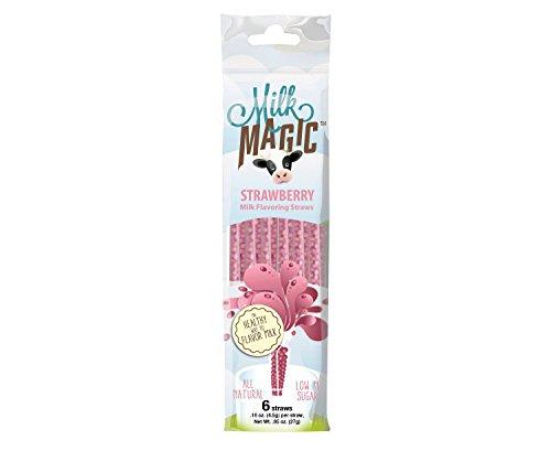 Milk Glass Strawberry (Milk Magic Milk Flavoring Magic Straws Assorted Flavors (Strawberry, 12 Count))