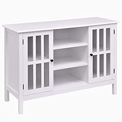 Tangkula Wood TV Stand Storage Console Free Standing Cabinet Holds Up To A  45u0026quot; TV