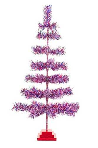 EST. LEE DISPLAY L D 1902 4th of July Christmas Tree Red White Blue Patriotic American USA Holiday Home Decor Tabletop Wedding Wood Base Stand Tinsel 18