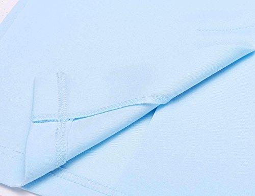 Orlo Ufficio Donne Il Solido Luce Blu Vestito Maniche Le Collo Spaccatura Bodycon Peplum Senza Y4x4Zq8