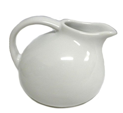 - 180D Small Round Stoneware Pitcher Creamer Retro Colors, White, 4.5