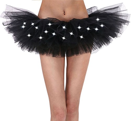 Black Tutu Women's 80s Cosplay Costume LED Light Up Neon Tulle Tutu Skirt, Black]()