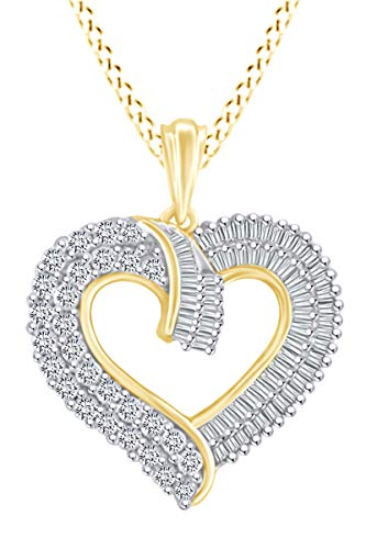 (1 Carat (Ctw) Baguette & Round Shape White Natural Diamond Heart Pendant Necklace In 10k Solid Yellow Gold)