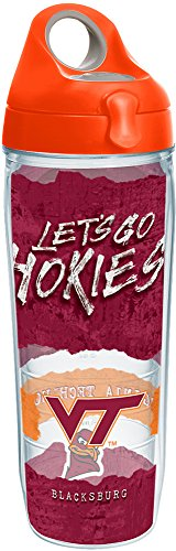 - Tervis 1251582 Virginia Tech Hokies College Statement Insulated Tumbler with Wrap and Orange Lid, 24oz Water Bottle, Clear