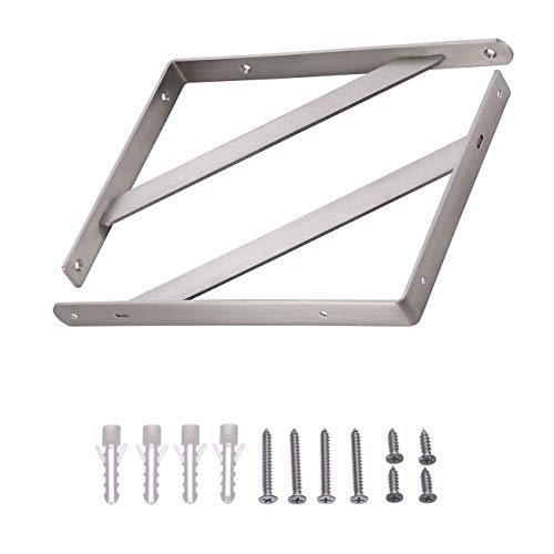 """YUMORE Shelf Bracket 14"""", Max Load: 440lb Heavy Duty Stainless Steel Solid Shelf Support Corner Brace Joint Right Angle Bracket, Pack of 2 by YUMORE (Image #3)"""