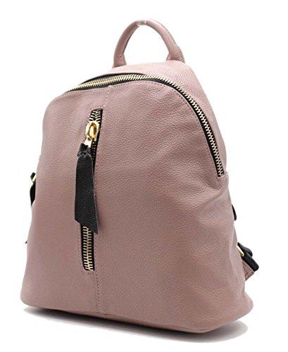 Tom & Eva 1202 Rhea MD Tasche, Rucksack, Backpack in Vegan Leder Mauve große Gold Zipper für Damen