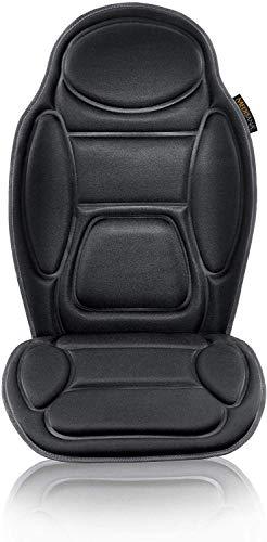 Medisana MCH Funda de asiento de masaje, funda de masaje con vibracion, 5 programas, funda de asiento de coche para hombro, espalda, calefaccion del asiento con funcion de calentamiento