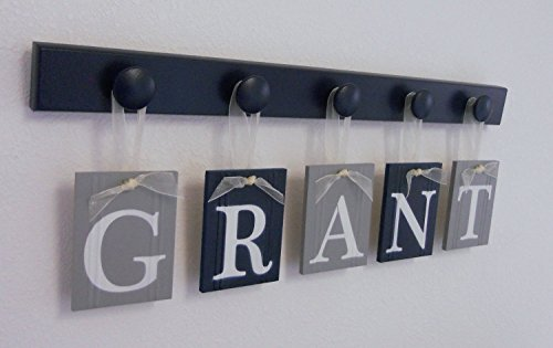 Navy Blue and Gray Baby Boy Nursery Decor This Wall Letter Set Includes Personalized Nameplates and Wooden Hanging Peg Board Painted in Navy