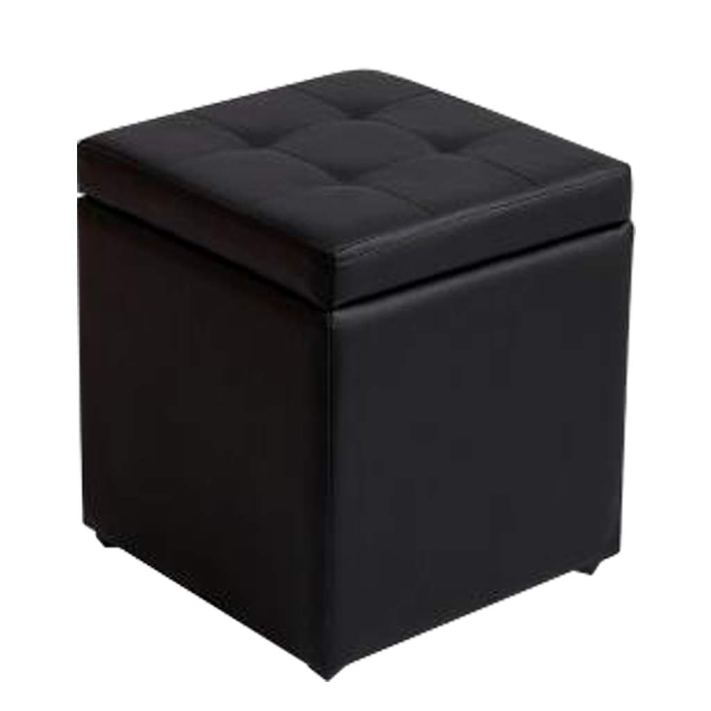 ZLLing-poggiapiedi Pouf di stoccaggio pieghevole in tessuto di lino con sedile imbottito in pelle per soggiorno, 30cm * 30cm * 35cm (Colore : Brown)