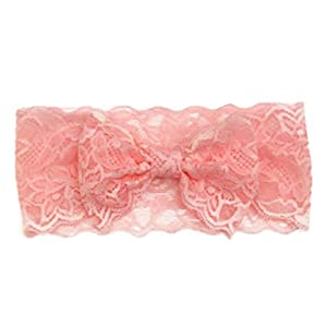 - 41Cm1oY8QfL - Canserin Baby Girls headband, Lace Big Bow Hair Band Head Wrap