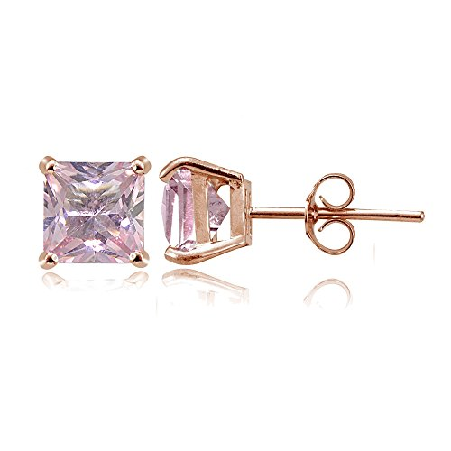 Rose Gold Flashed Sterling Silver Simulated Pink Tourmaline 6mm Princess-cut Stud (Princess Tourmaline Earrings)