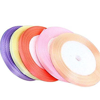 fcefd3ba16507 6/Pcs Silk Satin Ribbon Roll, 1/4 (6 mm)-Inch 25 yards, Multiple Colors,  Multiple Color