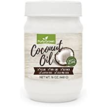 PURLY GROWN Organic Cold Pressed Coconut Oil, Extra Virgin or Refined Oils for Healthy Cooking, Beauty, Skin and Hair Care, 16 oz.