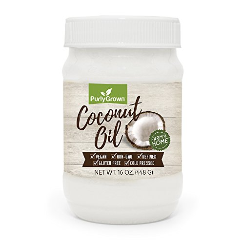 Refined Oil Coconut (PURLY GROWN Organic Cold Pressed Coconut Oil, Extra Virgin or Refined Oils for Healthy Cooking, Beauty, Skin and Hair Care, 16 oz.)