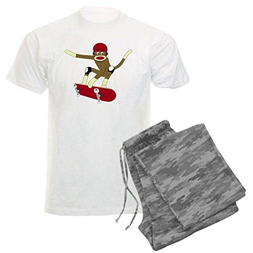 CafePress - Sock Monkey Skateboarder Men's Light Pajamas